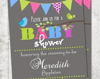 "Girl OR Boy Baby Shower Invitation - Printable Baby Shower Invitation - Pennant Banner -- Birds Invitation -  Party Invitation - 5x7"""