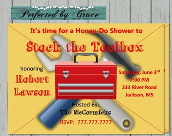 Printable DIY Honey Do Groom Shower Couples Shower Tools and Toolbox Shower Party
