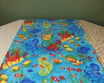 kids beach blanket in ocean print, one layer fleece blanket for kids