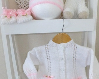 New hand knitted lacy cardigan with matching hat & shoes