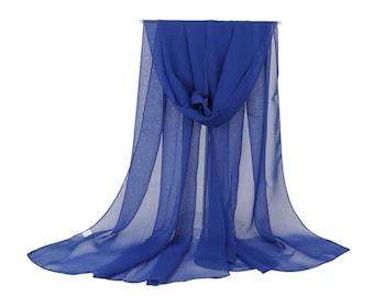 Dark Blue Chiffon Scarf - Blue Georgette Scarf - Large Blue Scarf - Blue Square Scarf - Sheer Chiffon Scarf - Head Piece - Large Shaw PS1