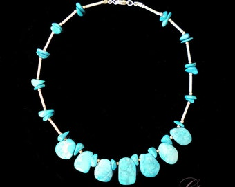 """Vintage Indian Necklace 17"""" Turquoise Gemstone Navajo 1960's Sterling Silver Native American Jewel"""