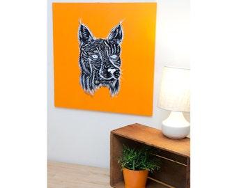 Bobcat Painting on Wood