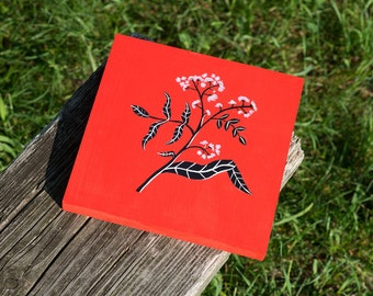 Red Wildflower Painting on Wood