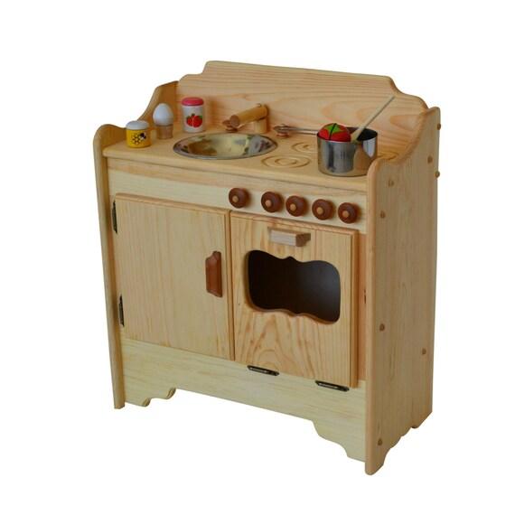 Wood Play Kitchen: Play Kitchen Waldorf Wooden Play Kitchen Wooden Toy Kitchen
