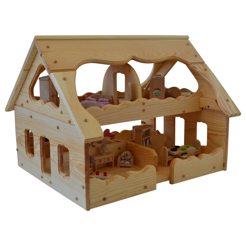 Wooden Dollhouse-Montessori-Wood Dollhouse-Montessori
