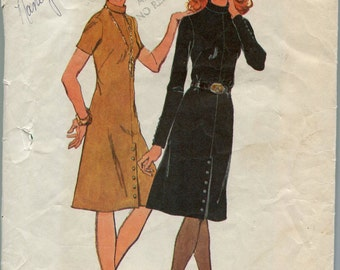 1970s Dress Pattern Simplicity 9655 Flared Skirt Pattern Vintage Womens Sewing Patterns Size 14