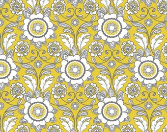 1/2 yard Parisian by Chelsea Anderson for Riley Blake Scroll Yellow