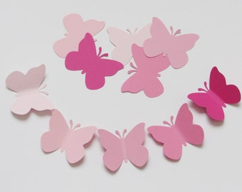 "Set of  50 PINK cardstock paper  BUTTERFLY die cuts, size 2""x 1.75"""