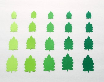 Oak paper leaf die cuts/ Green shade leaves/ Die Cut Leaves/ 50 pc set