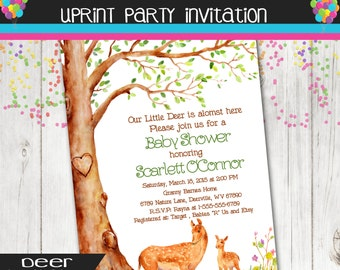 Nature Deer Doe and Fawn Baby Shower Invitation - Printable