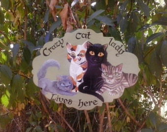 Example not for sale.Crazy cat lady lives here, hand painted house sign