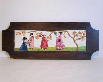 Framed Asian Art Embroidery Japanese Wall Art Vintage Embroidery