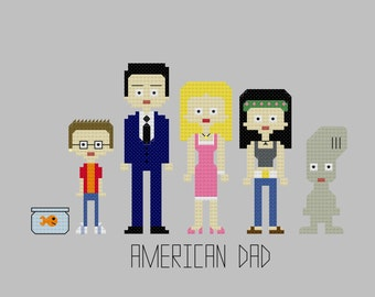 Cross Stitch Pattern - American Dad//Craft Supplies//PDF Pattern//Instant Download//Digital Download