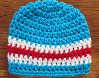 Crocheted Baby Boy Hat, Bright Aqua with Red & White Stripes Baby Hat, Baby Shower Gift, Newborn Photo Prop, Newborn to 5T - MADE TO ORDER