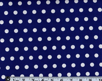 Little Dot Royal Blue Polka Dot Sewing Quilting Fabric End of Bolt Sale #505-2