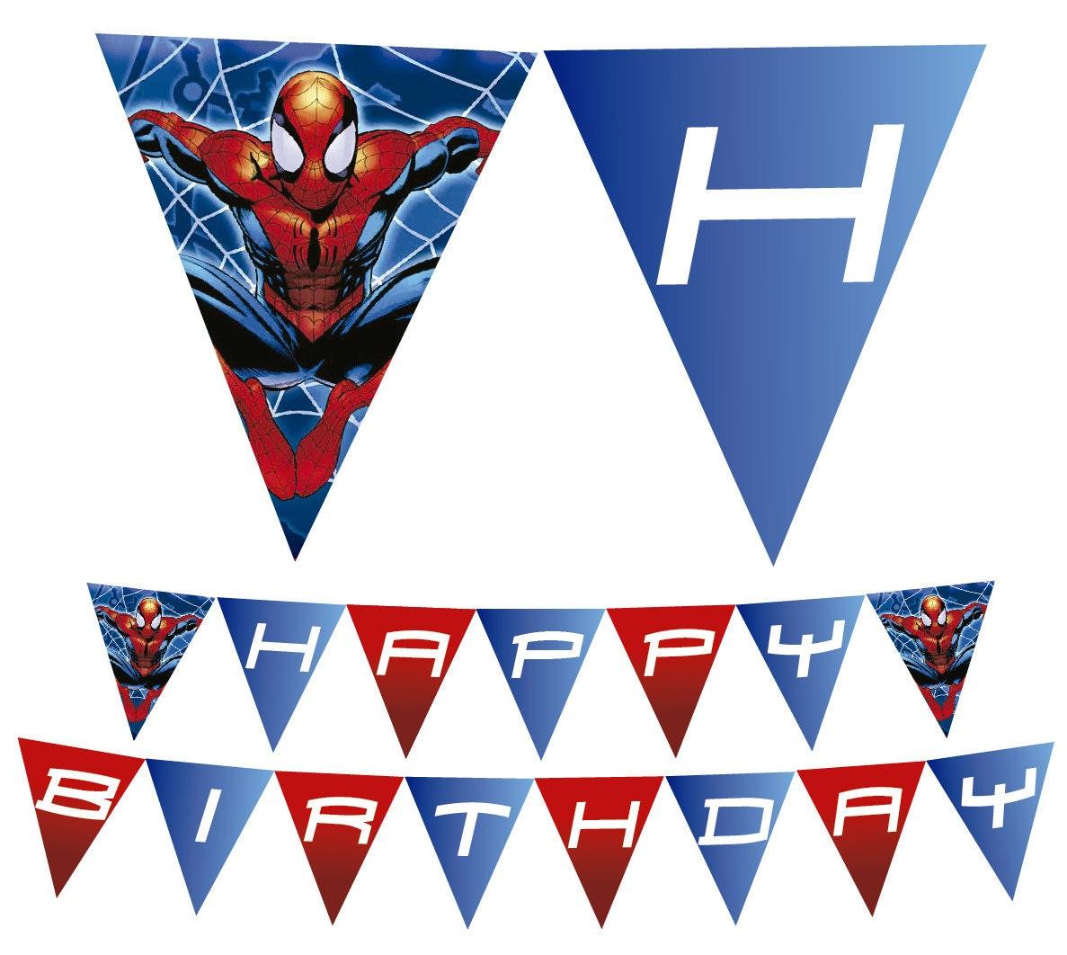 Spiderman Printable Happy Birthday Banner
