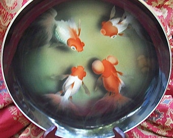 Large Hand-Painted Airbrush Porcelain Plate/Bowl depicting SWIMMING KOI FISH