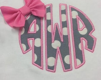 Circle Monogram Onesie or T-shirt with Bow