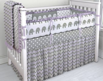 Gray, White and Lavendar Elephant and Chevron crib set