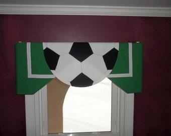 Custom Children's Soccer Valance for a Sports room, Playroom