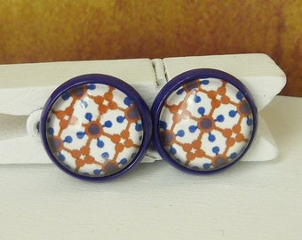 stud earrings Retro cabochons blue brown white