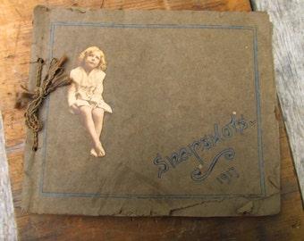 Antique Paper Snapshots Book - 1917 Photo Scrapbook