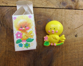 Vintage Plastic Avon Chicken Little Fragrance Pin - 1970's Avon Children's Perfume Pin Pal Pin