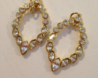 2 Vintage Rhinestone Earring Drops  Gold Pendant  23 x 40mm