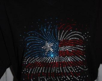 Women's Firework Flag Rhinestone Shirt, Patriotic TShirt, Patriotic Top, 4th of July T-Shirt