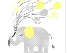 Gray and Yellow Nursery Art, Elephant, Balloons, Gender Neutral, Grey, cute nursery art