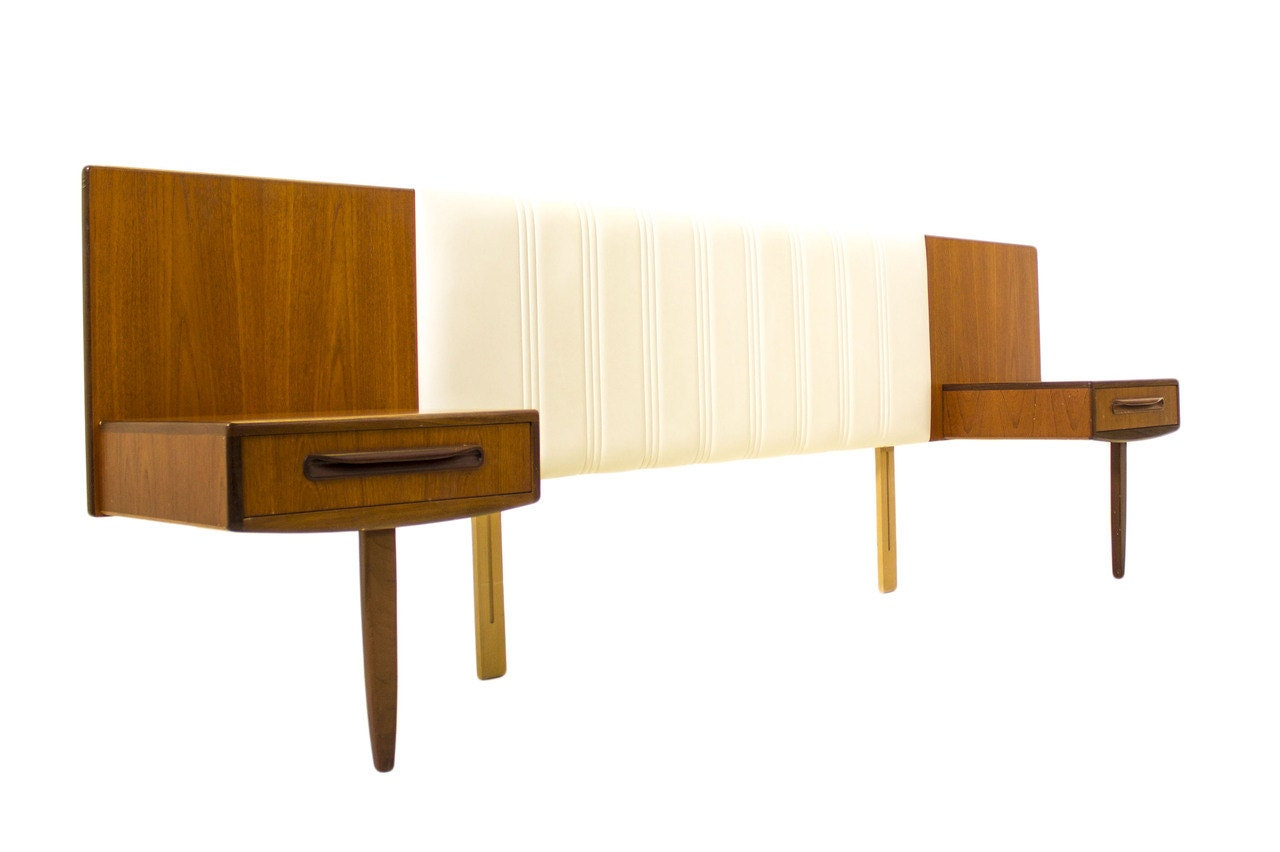 Mid Century Modern Nightstand Plans: Teak Floating Headboard With Floating By ModCenturyVintage
