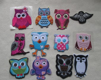 Wholesale lot  12pcs  Mixed Cute Owl Iron On Fabric Patch  about 6-7cm