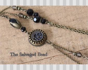 Antique Victorian Tinted Brass Button Necklace circa 1880 by The Salvaged Bead
