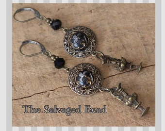 Antique Victorian/Art Nouveau Glass Button Earrings circa early 1900's by The Salvaged Bead