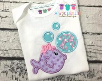 Baby girl monogram shirt - Girl fish shirt - Monogram outfit - Baby girl clothes