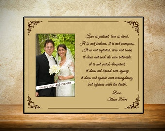 Personalized Wedding Frame - Tan Love is Patient Frame