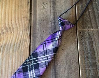 Purple Plaid Tie, Toddler Plaid Tie, Purple Tie, Plaid Tie, Child Purple Tie, Child Plaid Tie, Child Purple Plaid Tie