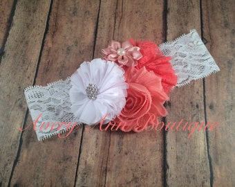 Baby Headband, Newborn Headband, Shabby Chic Headband, Flower Girl Headband, Flower Headband