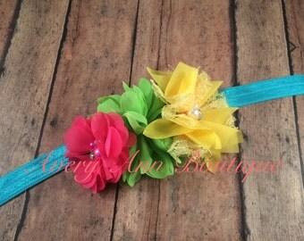Baby Headband, Newborn Headband, Shabby Chic Headband, Birthday Headband, Flower Headband, Clown Headband, Neon Headband