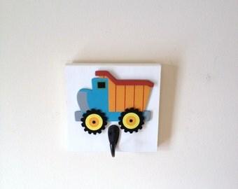 Boys Bedroom Dump Truck Theme Single Wall Hook Trucks Boy Nursery Room Decor Boys Trucks Wall Decor