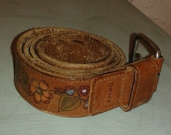 Vintage DKNY Brown Leather Flower Belt with Silver Buckle Size S/M