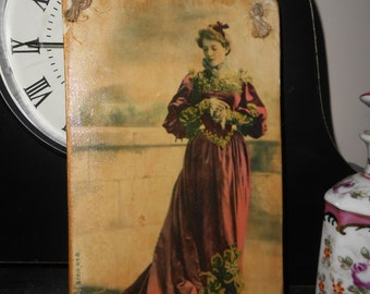 shabby chic hanging wooden sign tag edwardian lady in rose red velvet gown postcard image handmade