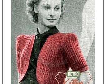 1940s Wartime Bolero Knitting Pattern - PDF Instant Download