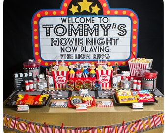 Movie Night; Movie Night Party; Movie Night Birthday Party;  Movie Night Birthday; Movie Night Birthday party; Movie Night party kit