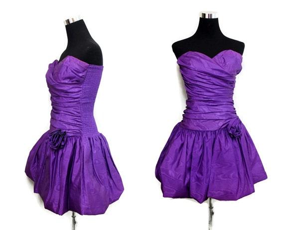 CIJ Sale Vintage 80s Prom Dress Strapless 80s Mini Dress
