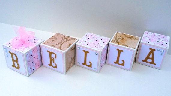 Baby Gift Name Blocks : Wooden name blocks baby girl by