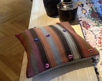 Vintage Turkish Kilim Rug Cushion Cover - Handmade Pillow Cover 39 x 39cm