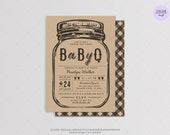 String of Light - BBQ Baby Shower Invitation Card  - DIY Printable Digital File - Jar Baby Shower - BBQ Co-ed Baby Shower