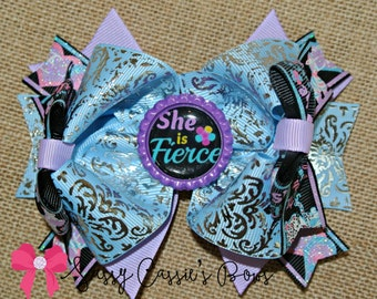 "5"" She May Be Little but She is Fierce boutique bow, us designer bow, birthday bow, special occasion, photo prop, boutique bow, little girls"